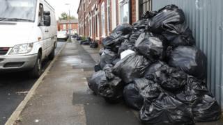 Bags piled high in Tarry Road, Birmingham