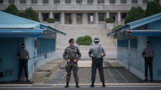 Soldados sul-coreanos na fronteira com a Coreia do Norte
