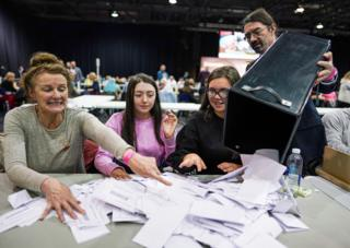 Vote counting in Glasgow