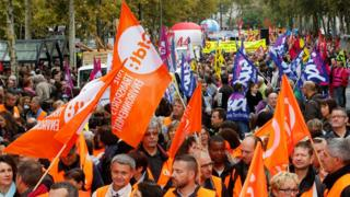Public sector workers attend a demonstration as part of a nationwide strike against French labour reforms, Nantes, 10 October 2017