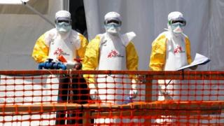 Health workers dressed in protective suits are seen at the newly constructed MSF(Doctors Without Borders) Ebola treatment centre in Goma - September 2019