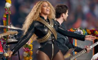 "Beyonce (R) performs onstage during the Pepsi Super Bowl 50 Halftime Show at Levi""s Stadium on February 7, 2016"