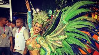 Samantha Mortner in a peacock costume