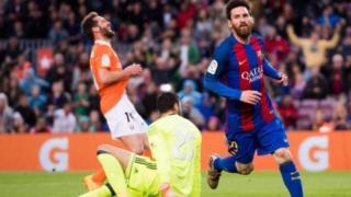 Messi lokacin da ya zura kwallo a raga