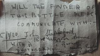 Message found inside the bottle