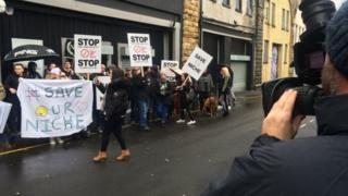 Protest outside Niche