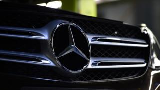 Front end of a Mercedes car