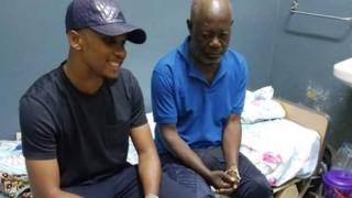 Samuel Eto'o Fils (L) and Norbert Owona (R)