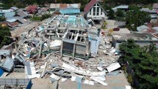 A shattered hotel in Palu, 30 September