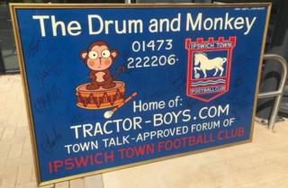 Drum and Monkey Ipswich Town sign