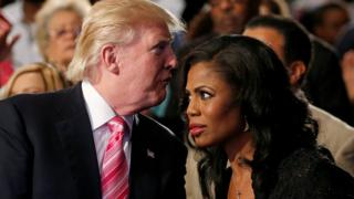 Republican presidential nominee Donald Trump and Omarosa Manigault attend a church service, in Detroit, Michigan, US, September 3 2016