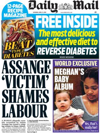 Daily Mail front page, 13/4/19