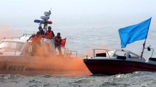 Cảnh sát Biển Trung Quốc tập dợt trong một cuộc diễn tập khủng bố hồi 2008