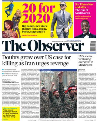 Observer front page 5 January 2020