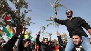Syrian Kurds, holding olive branches, protest against Turkish attacks on Afrin (23/01/18)