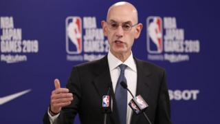 Adam Silver speaking at a press conference in Japan on 8 October