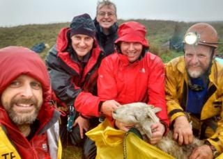 Rescuers Mark Morgan (left to right) Gary Evans, Dave Dunbar, Vince Alkins and Pete Hobson with the stricken sheep