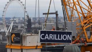 Carillion sign being taken down