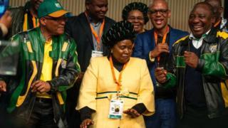 Jacob Zuma, Nkosazana Dlamini-Zuma and Cyril Ramaphosa dancing at an ANC policy conference