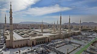 The Prophet Muhammad mosque on in the holy city of Medina