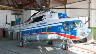 A 2011 photo of the Russian Mi-8 helicopter at Barentsburg