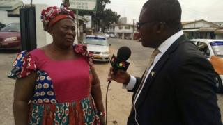 Hajia Fati who attack journalist dey grant interview in front of party headquarters