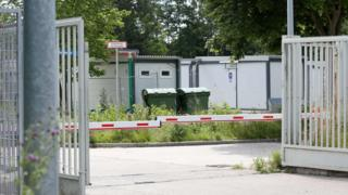 The entrance of a former barracks ground in Bad Segeberg, near Hamburg, is pictured on June 27, 2017