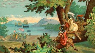 Ilustración de Colón llegando a América.