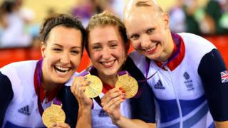 Dani Rowe, nee King, Laura Trott, and Joanna Rowsell of Great Britain pose with their Gold medal during the medal ceremony for the Women's Team Pursuit Track Cycling Finals after breaking the World Record on Day 8 of the London 2012 Olympic Games at Velodrome on August 4, 2012 in London, England.