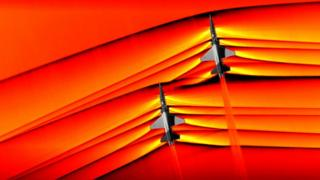 Photo of the supersonic waves of two aircraft.