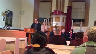 Public meeting in St. Magnus Kirk