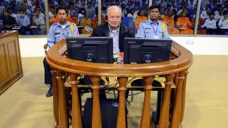 Nuon Chea at the Khmer Rouge tribunal in 2011
