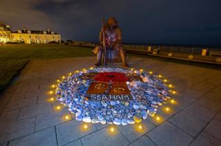 Seaham Tommy 1101 statue with accompanying art displays