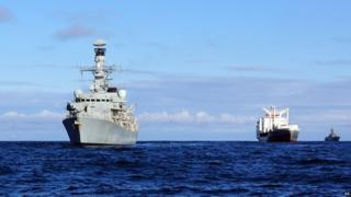 HMS Somerset (left) shadowing a Russian naval task group as it travelled through the English Channel and along the east coast of the UK.