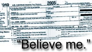 "Trump tax form leaked from 2005 - with text ""Believe me"""