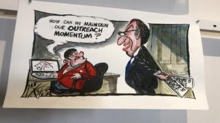 Cartoon of Christopher Stalford and Arlene Foster