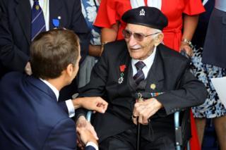 Veteran John Jenkins with French President Emmanuel Macron