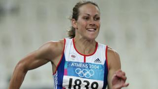 Kelly Sotherton, of Great Britain, competes in the 200-metre discipline of the women's heptathlon on August 20, 2004 during the Athens 2004 Summer Olympic Games