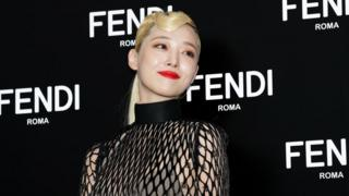 Former member of South Korean girl group f(x), Sulli, at the photocall for FENDI on September 03, 2019