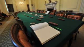 Cabinet table in Downing Street