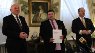 Dave Duncan being honoured at the Polish Embassy