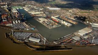 Aerial view of Port of Tilbury