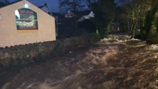 Llangefni's Afon Cefni in flow full on Thursday morning