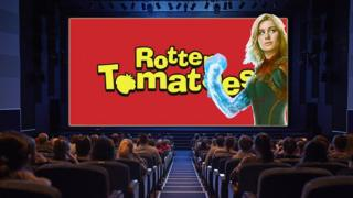 Cinema with Rotten Tomatoes and Captain Marvel on screen