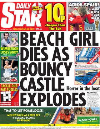 Daily Star front page - 02/07/18