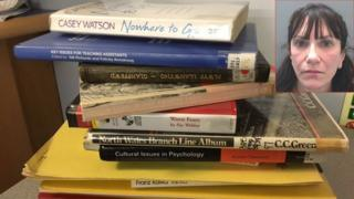 A pile of the stolen books with an inset of Elizabeth Macregor
