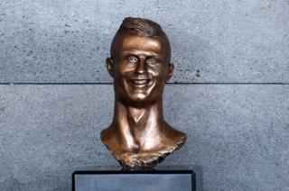A bust of Cristiano Ronaldo is seen before the ceremony to rename Funchal Airport as Cristiano Ronaldo Airport in Funchal, Portugal, 29 March 2017.