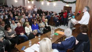 Sinn Féin president Gerry Adams addressing party meeting