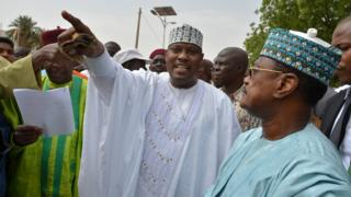 Niger's opposition leader Hama Amadou and former Prime Minister Seini Oumarou at a march in Niamey on 15 June 2014.