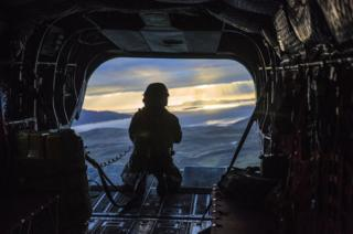 Inside a Chinook helicopter
